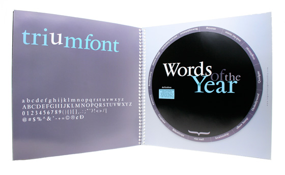 Repartee Type Foundry Holiday Mailer, 'Words of the Year' spread