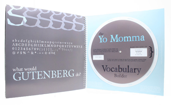 Repartee Type Foundry Holiday Mailer, 'Yo Momma Vocabulary Builder' spread