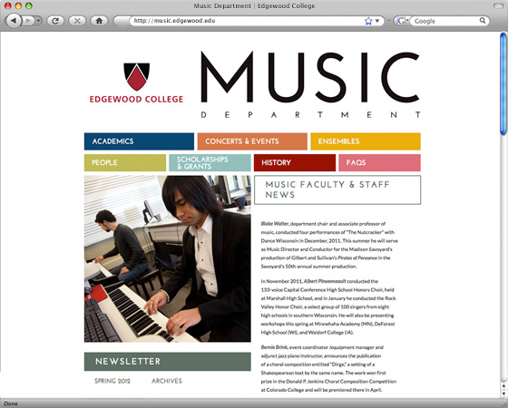 Edgewood College Music Department homepage